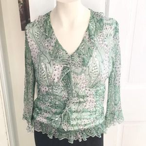 WD.NY 100% SILK Ruched & Ruffled Boho Blouse SZ 8
